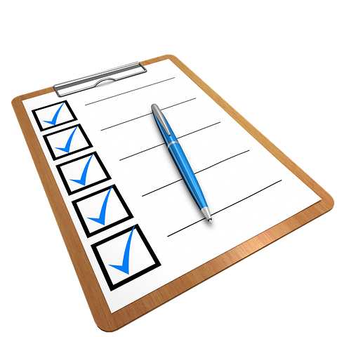 checklist on clipboard with pen; Pixabay