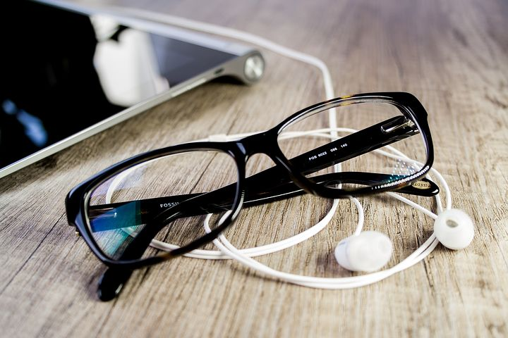 Pixabay. Glasses, tablet, and earphones